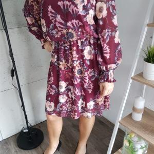 Sukienka Burgundy Spring Flowers