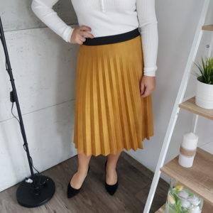Spódnica plisowana Midi Mustard Suede