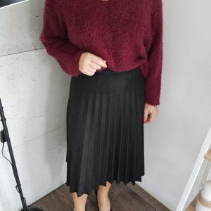 Sweter z włoskiem Burgundy Fluffy Lady