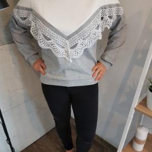 Sweter z aplikacją Gray Triangle with Lace
