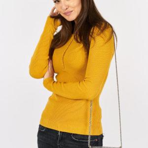 Sweterek dzianinowy z guzikami Mustard Button