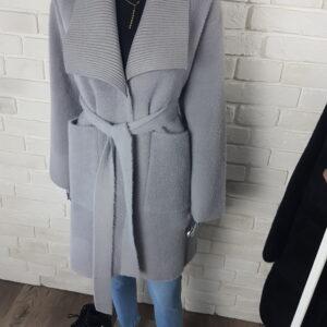 Płaszcz Alpaka z paskiem Grey